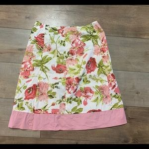 Speechless Pink Green Floral Skirt